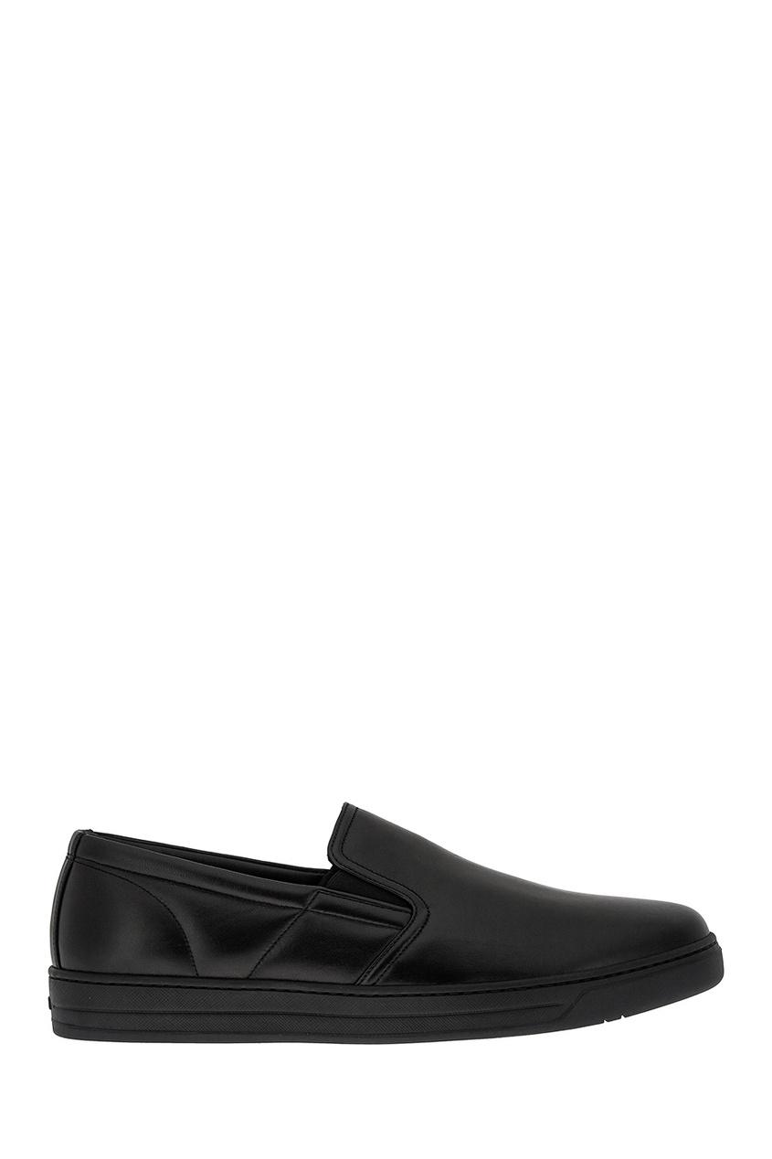 Черные слипоны из кожи от Prada