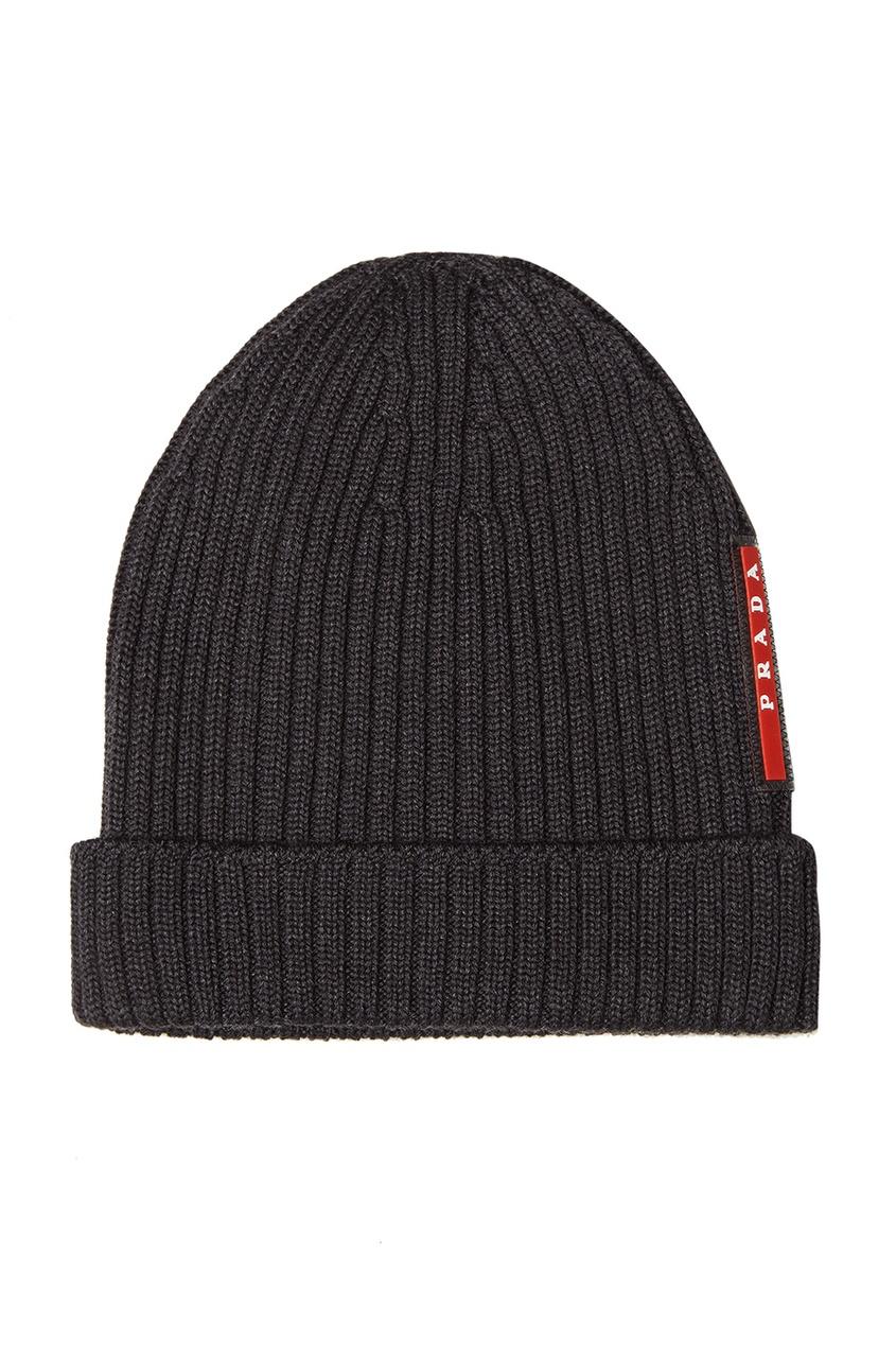 мужская шапка prada, серая