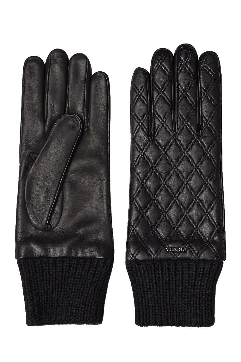 Prada Стеганые перчатки из кожи