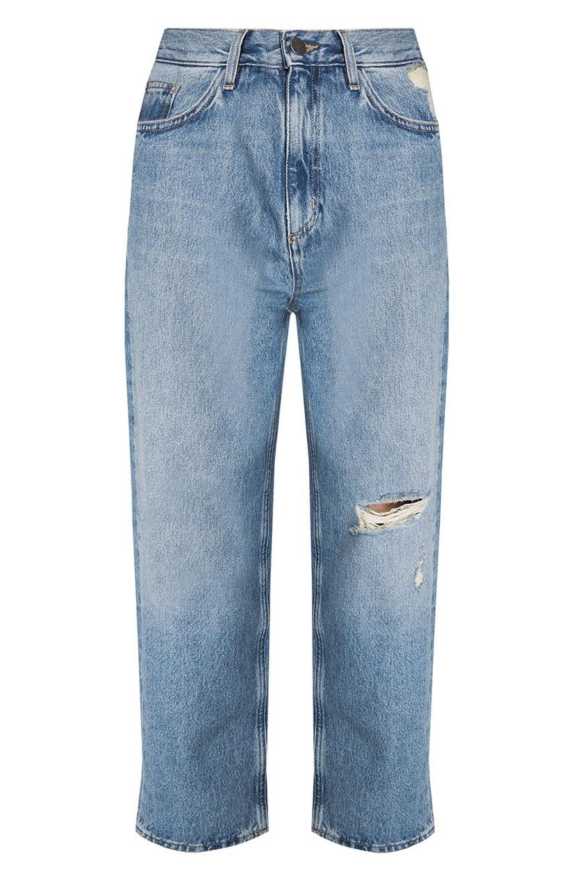 Укороченные джинсы с прорезями Jeanne