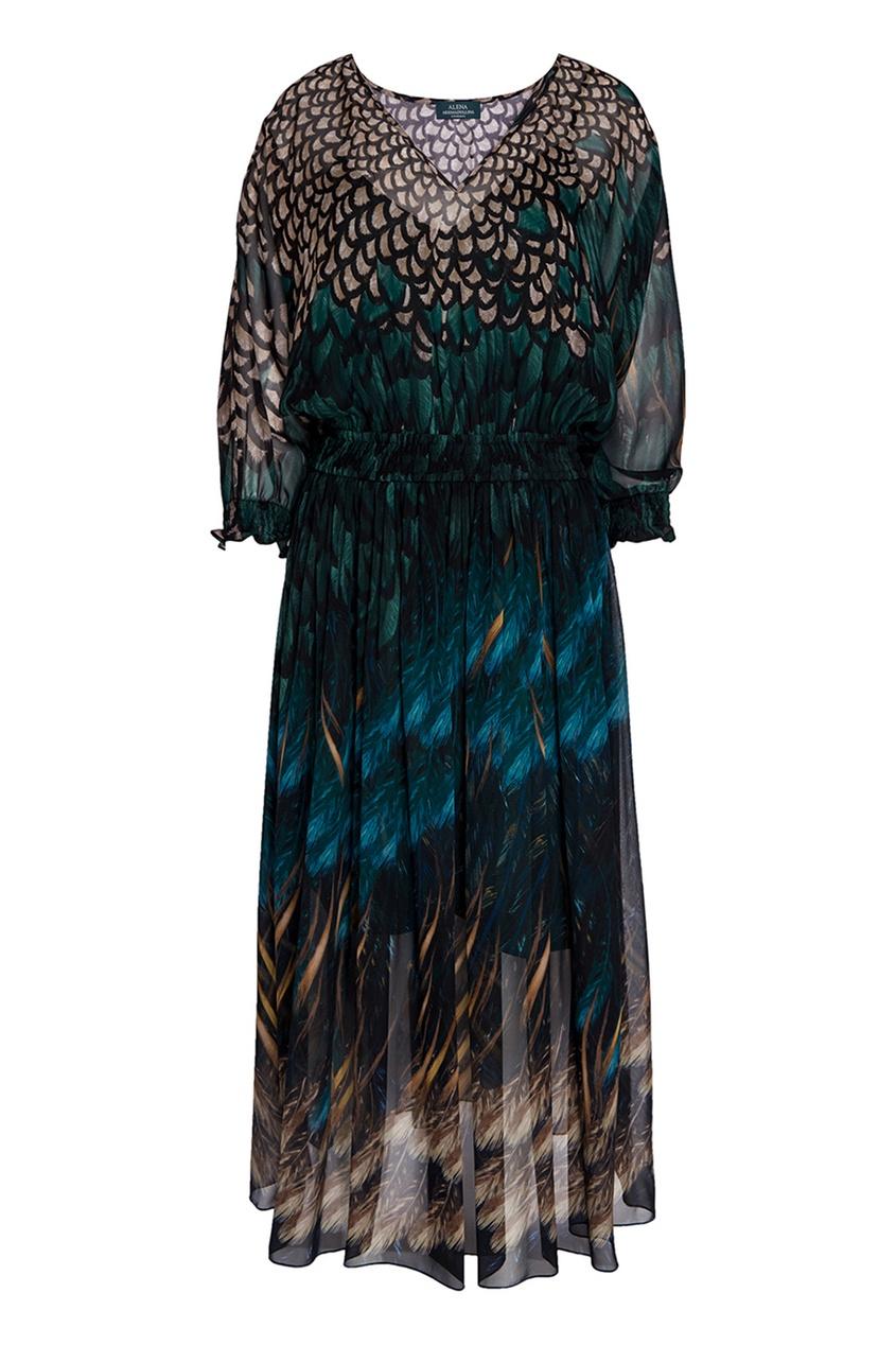 Платье-миди из шелка с принтом
