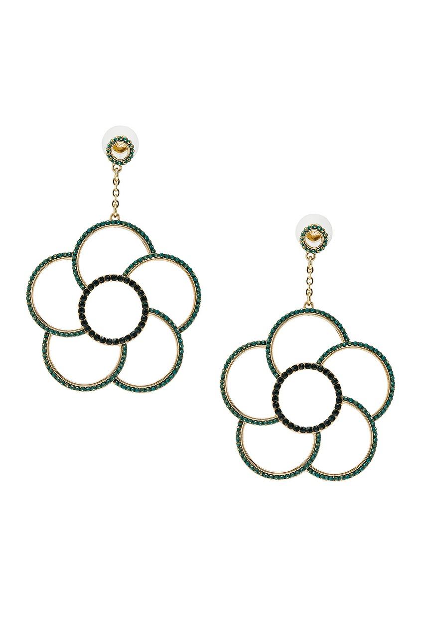 Серьги-цветы с зелеными кристаллами