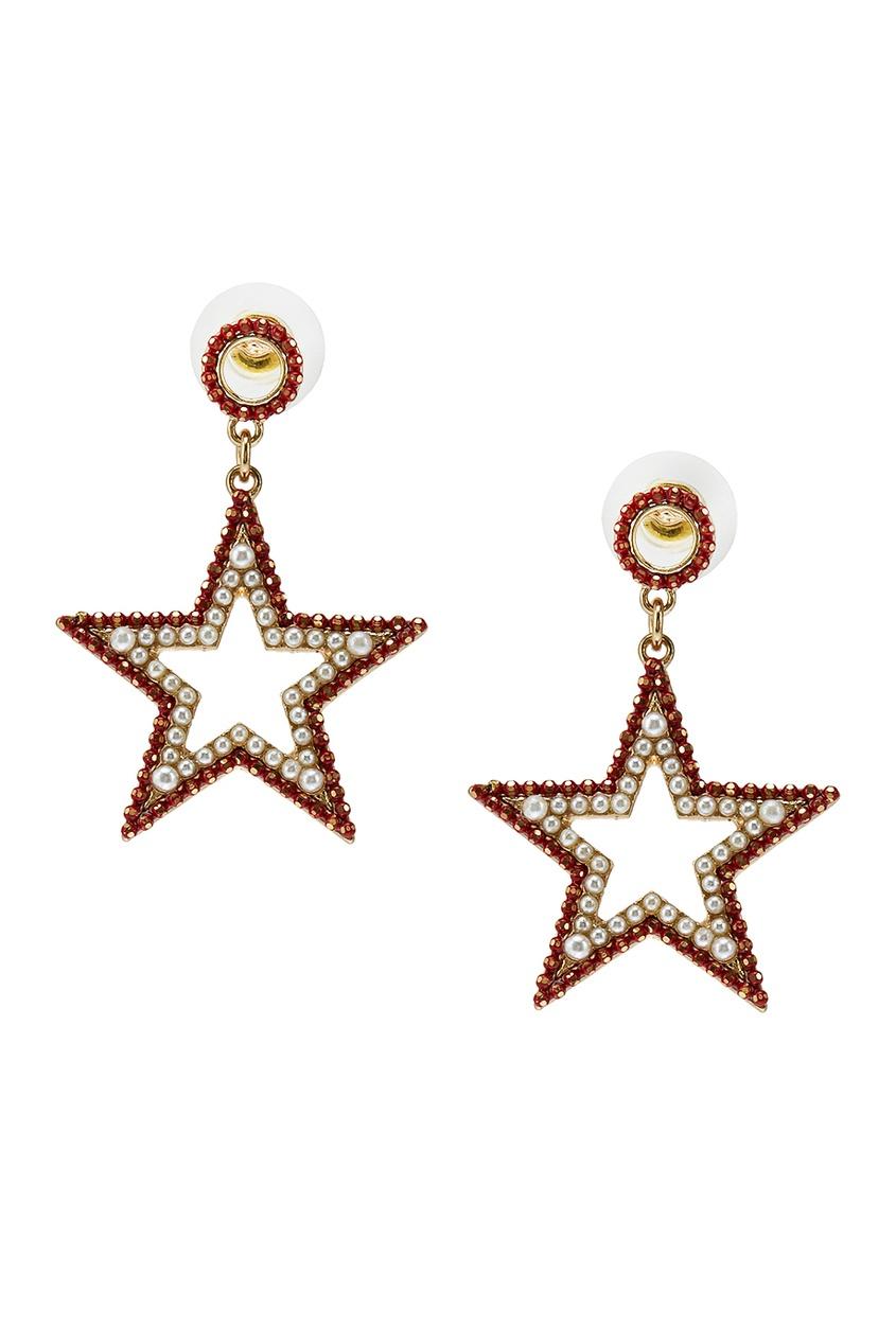 Серьги-звезды с красными кристаллами