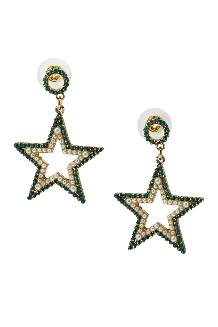 Серьги-звезды с зелеными кристаллами