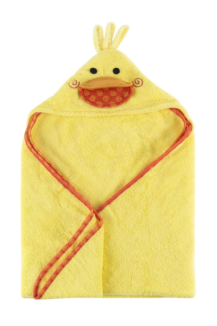 Желтое детское полотенце с капюшоном