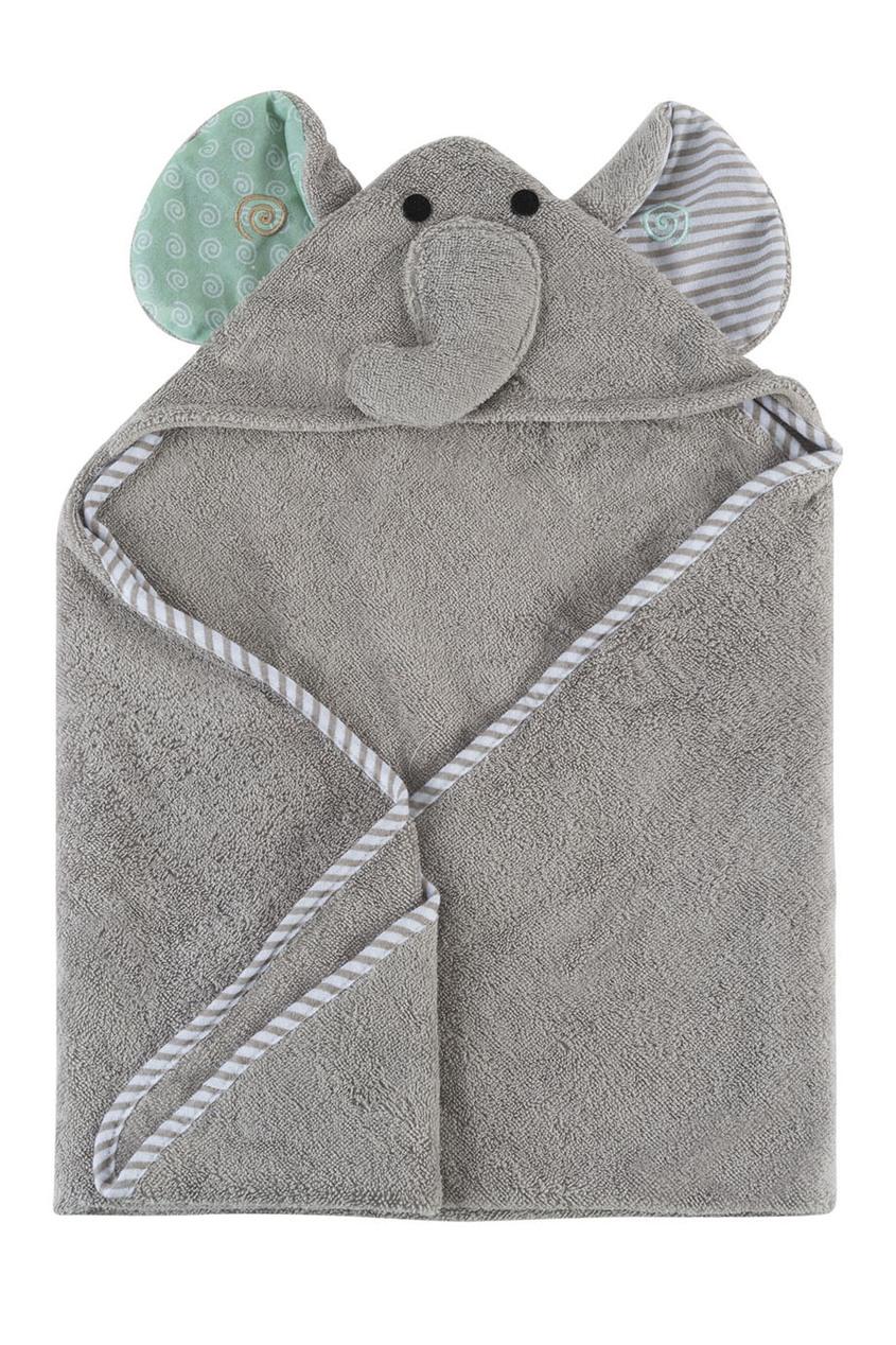 Серое детское полотенце с капюшоном