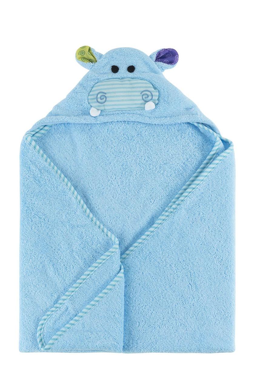 Голубое детское полотенце с капюшоном