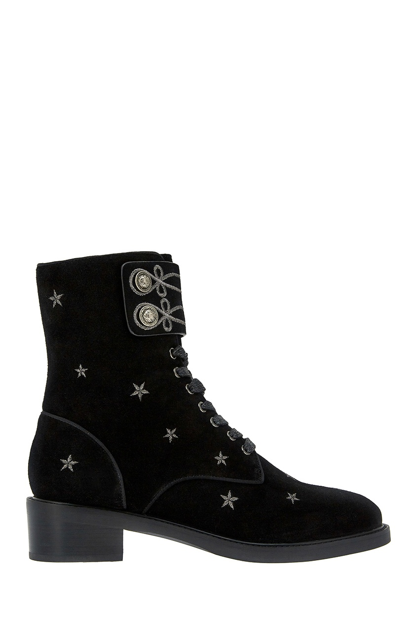 Lola Cruz Черные замшевые ботинки с вышивкой цены онлайн