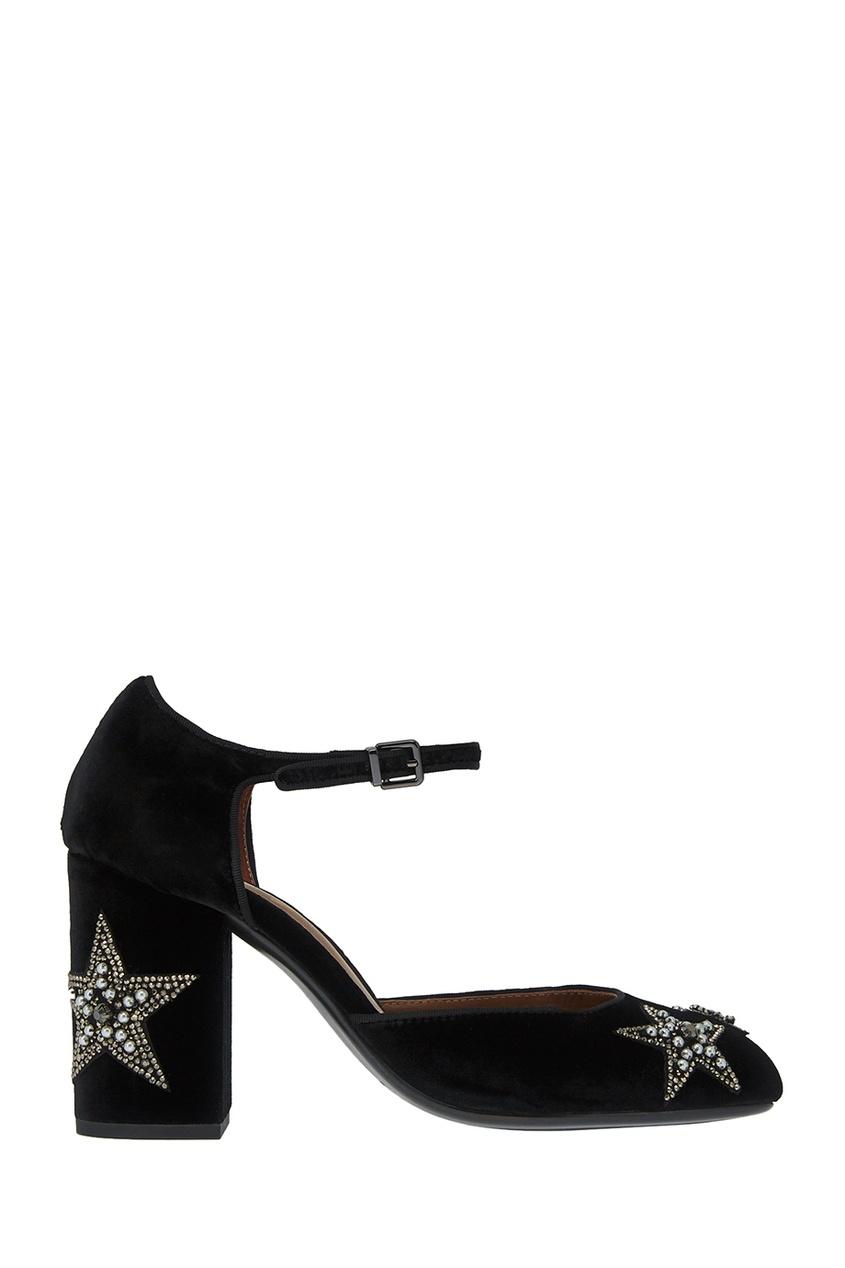 Lola Cruz Бархатные туфли со звездами босоножки lola cruz босоножки