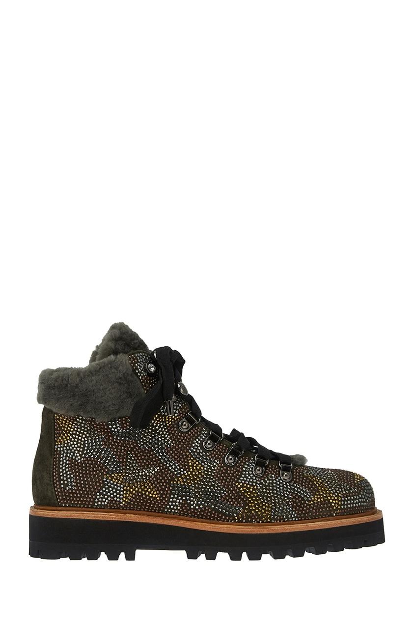 Lola Cruz Коричневые ботинки с мехом и кристаллами