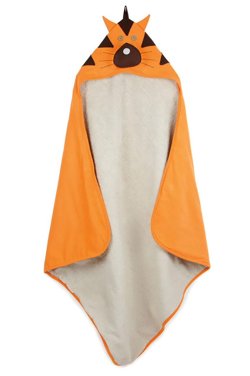 Оранжевое детское полотенце с капюшоном