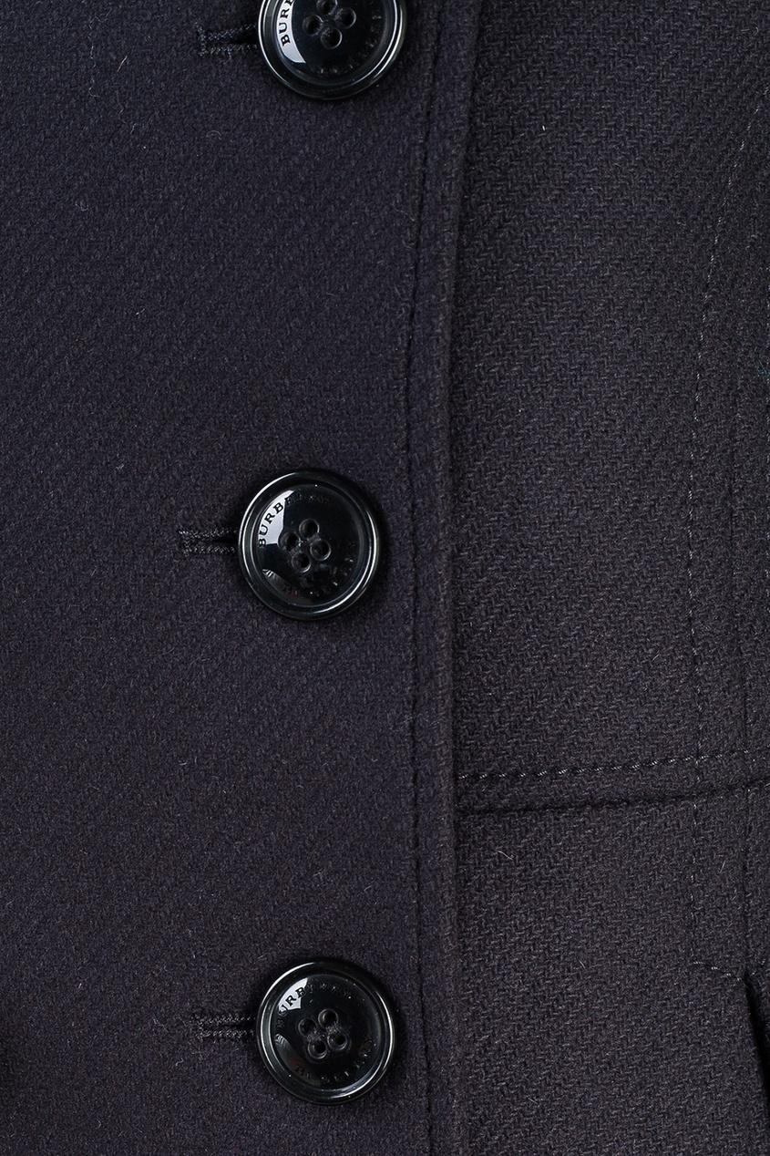 Burberry Children Двубортное пальто пальто твидовое с рукавами ¾ с узором шеврон