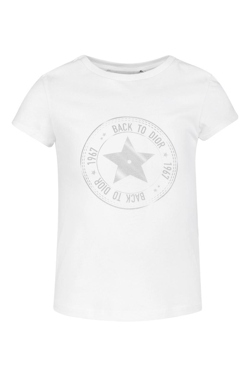 Dior Children Белая футболка с принтом dior children жакет с расклешенным подолом