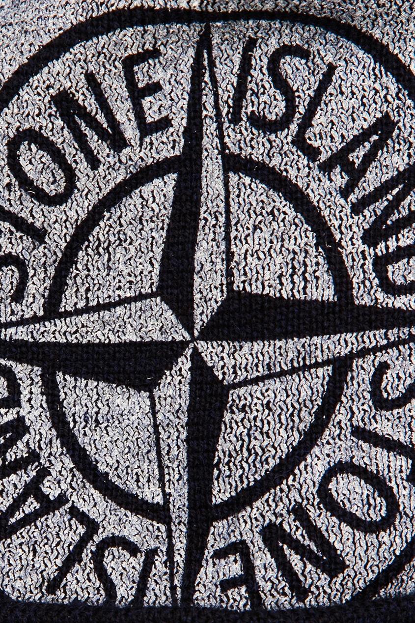 цена Stone Island Children Шапка с принтом и помпоном онлайн в 2017 году