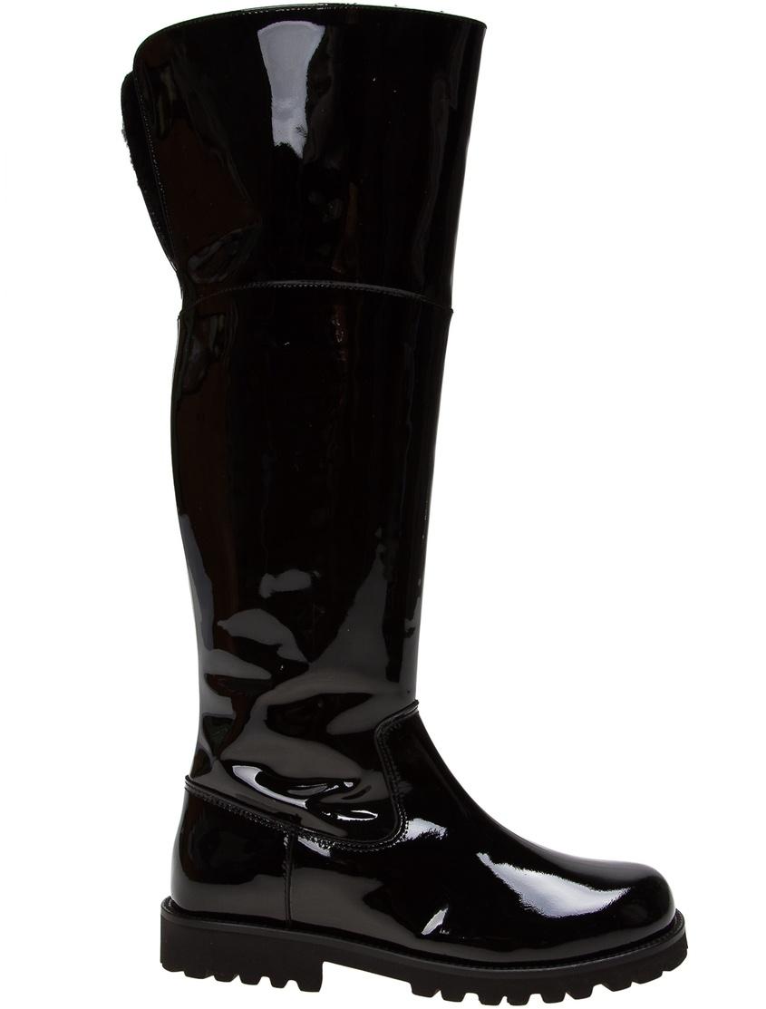 Купить Высокие лакированные сапоги черного цвета