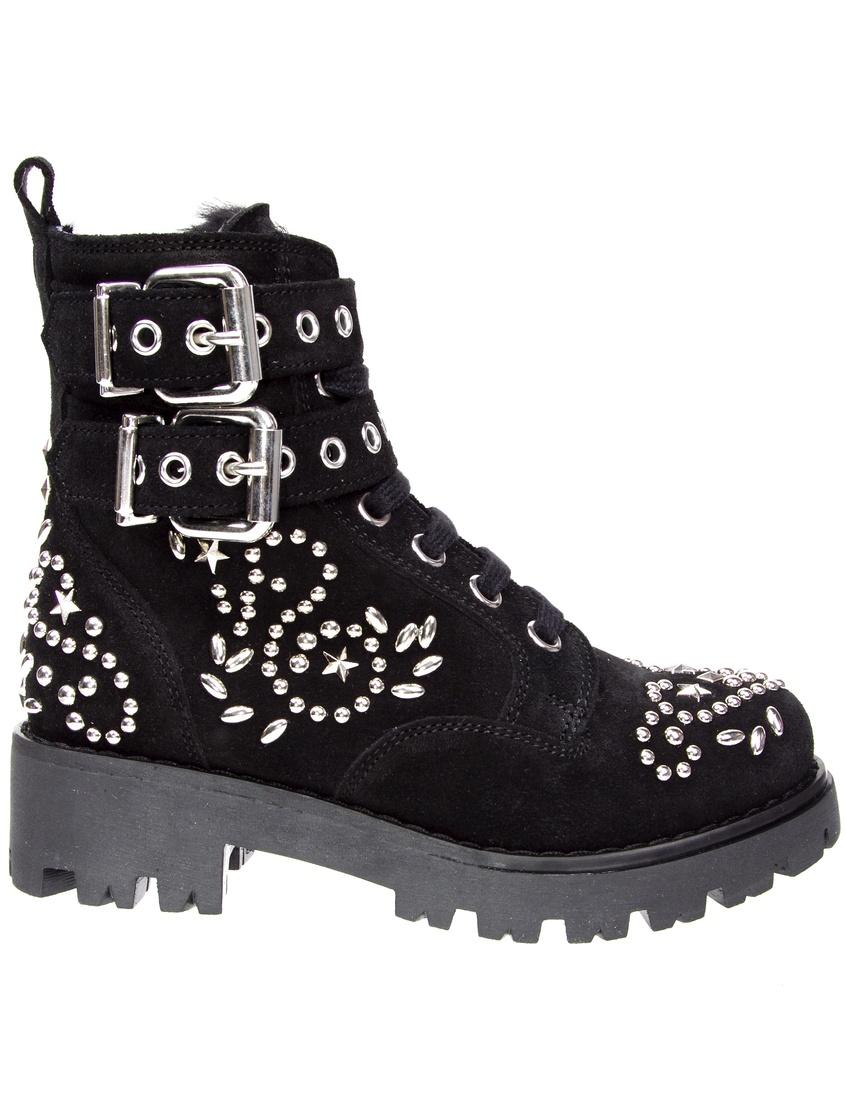 Купить Ботинки с аппликацией от Ermanno Scervino Children черного цвета
