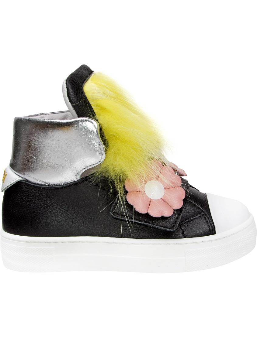 Купить Хайтопы с мехом и аппликациями от Fendi Kids черного цвета