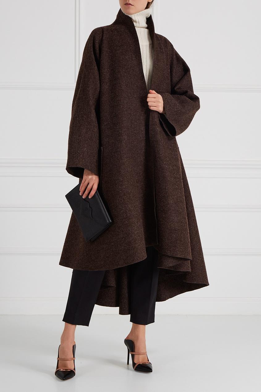 Cyrille Gassiline BASE Драпированное пальто коричневое