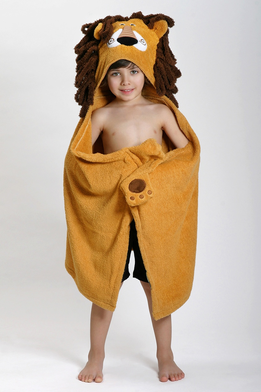 Бежевое детское полотенце с капюшоном