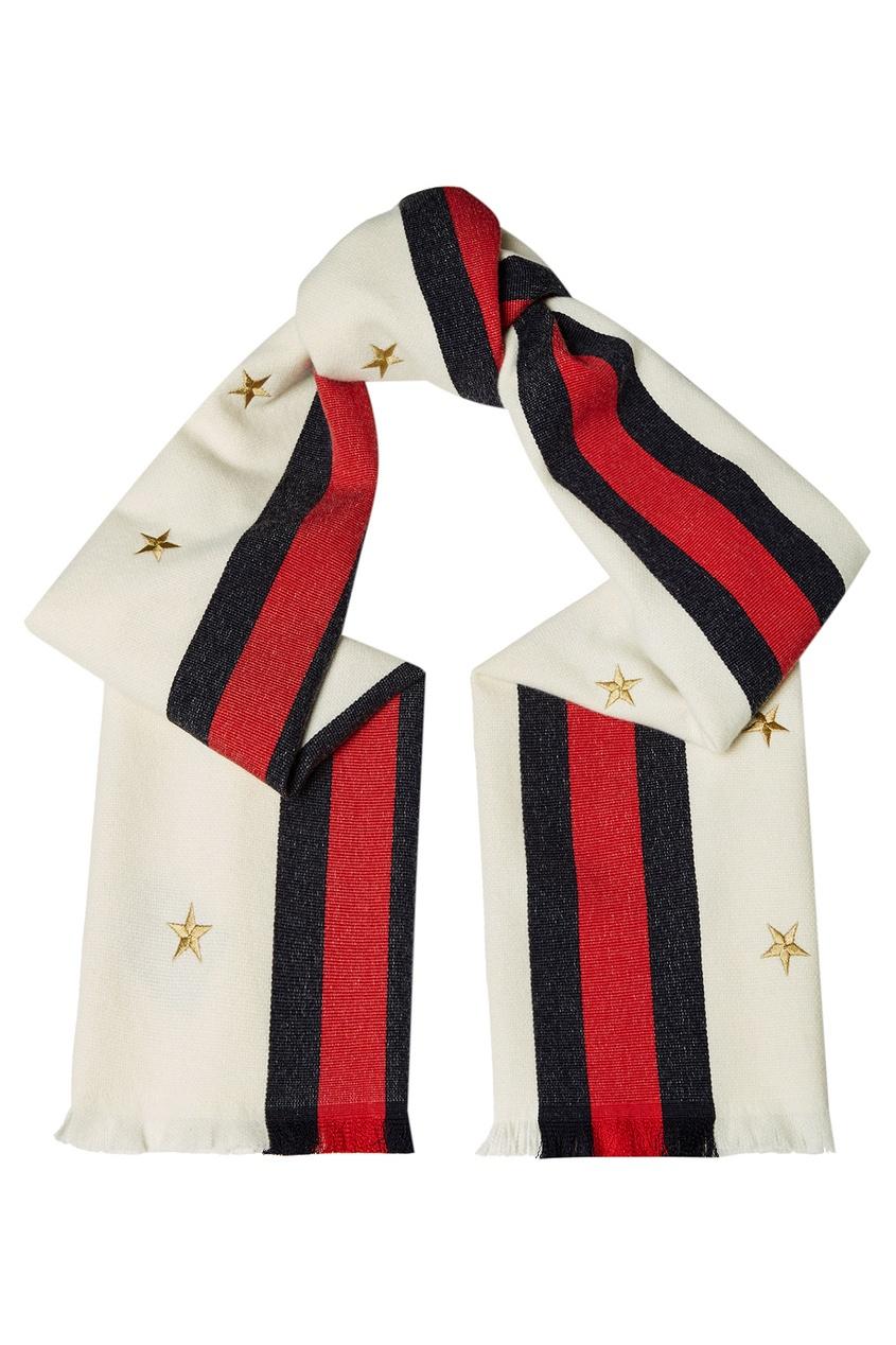 Шерстяной шарф с вышитыми звездами