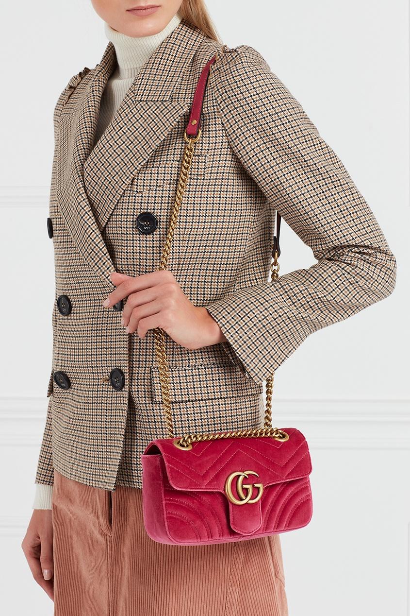 Gucci Бархатная сумка на цепочке GG Marmont