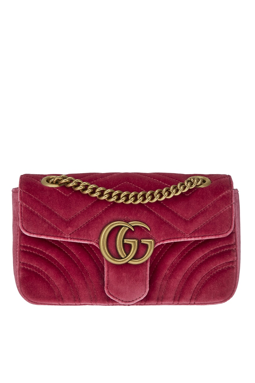 Gucci Бархатная сумка на цепочке GG Marmont gucci кожаные туфли gg marmont