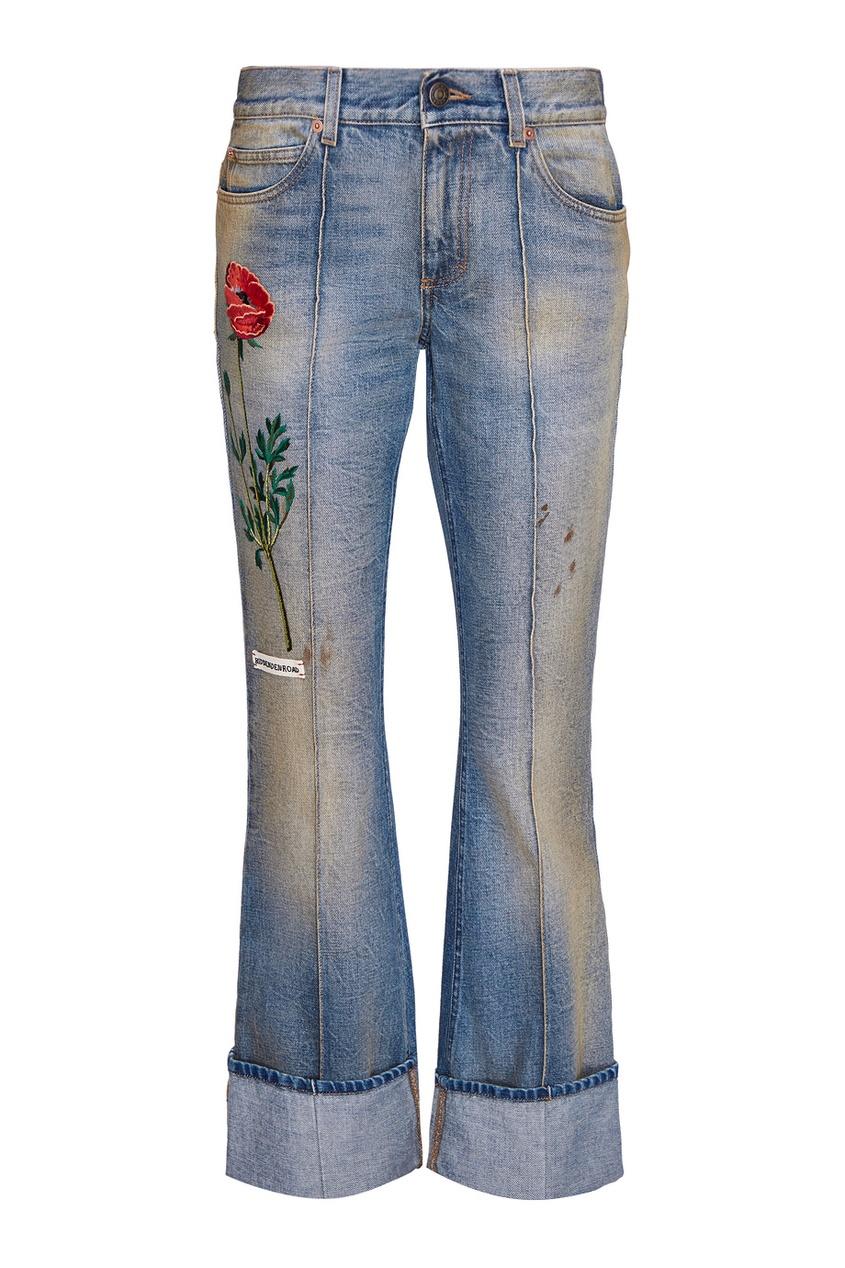 Укороченные джинсы с вышивкой от Gucci