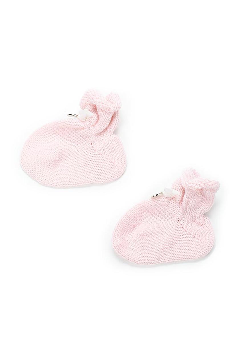 Miacompany Шерстяные носочки розовые перчатки без пальцев шерстяные с рисунком розовые