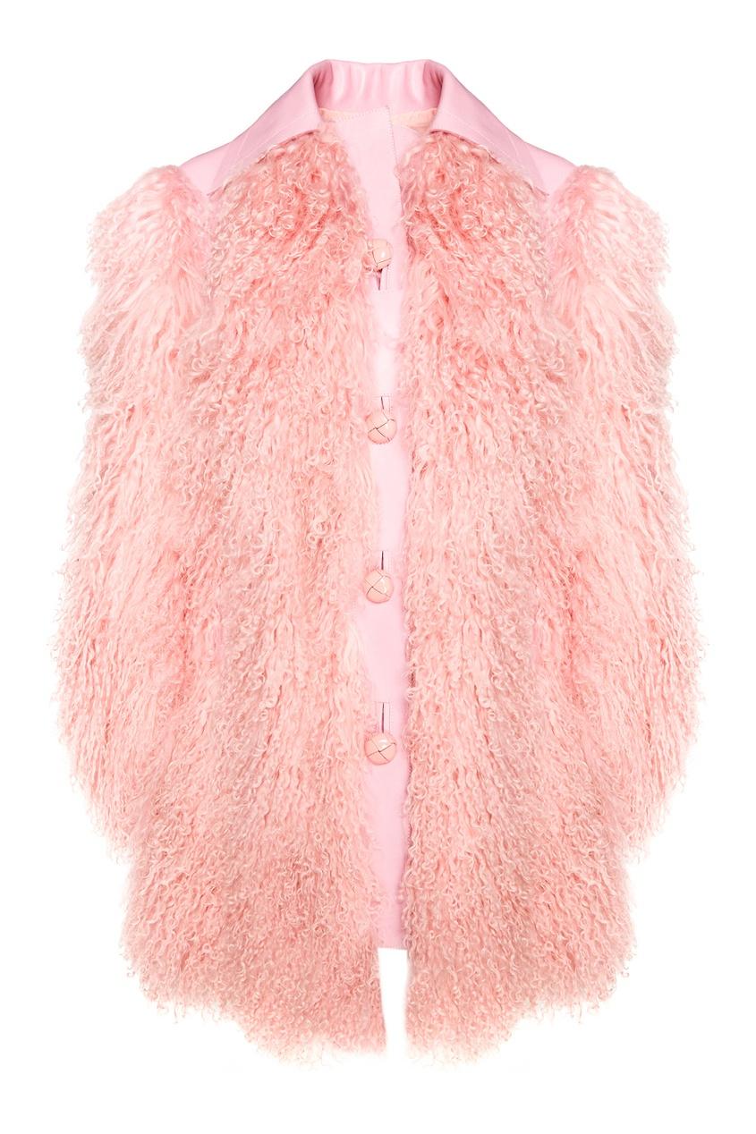 Розовая шуба из меха ягненка