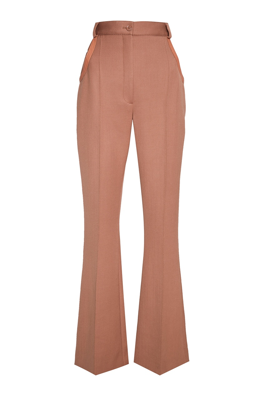 Расклешенные бежевые брюки