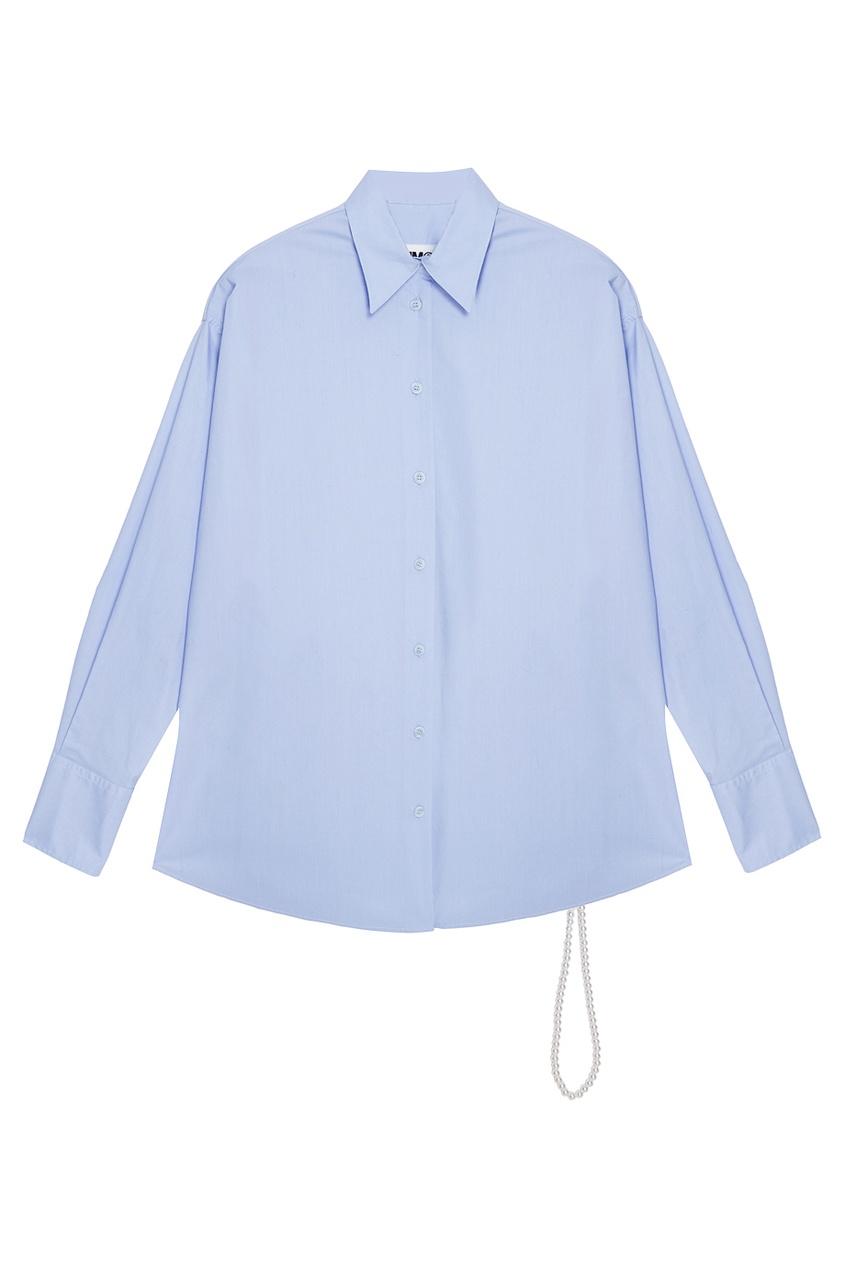 Хлопковая рубашка с жемчужным поясом