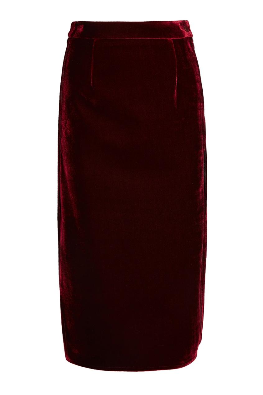 Бархатная юбка с разрезами