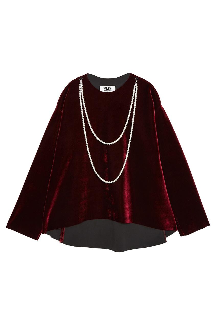 Бархатная блузка с жемчужной отделкой