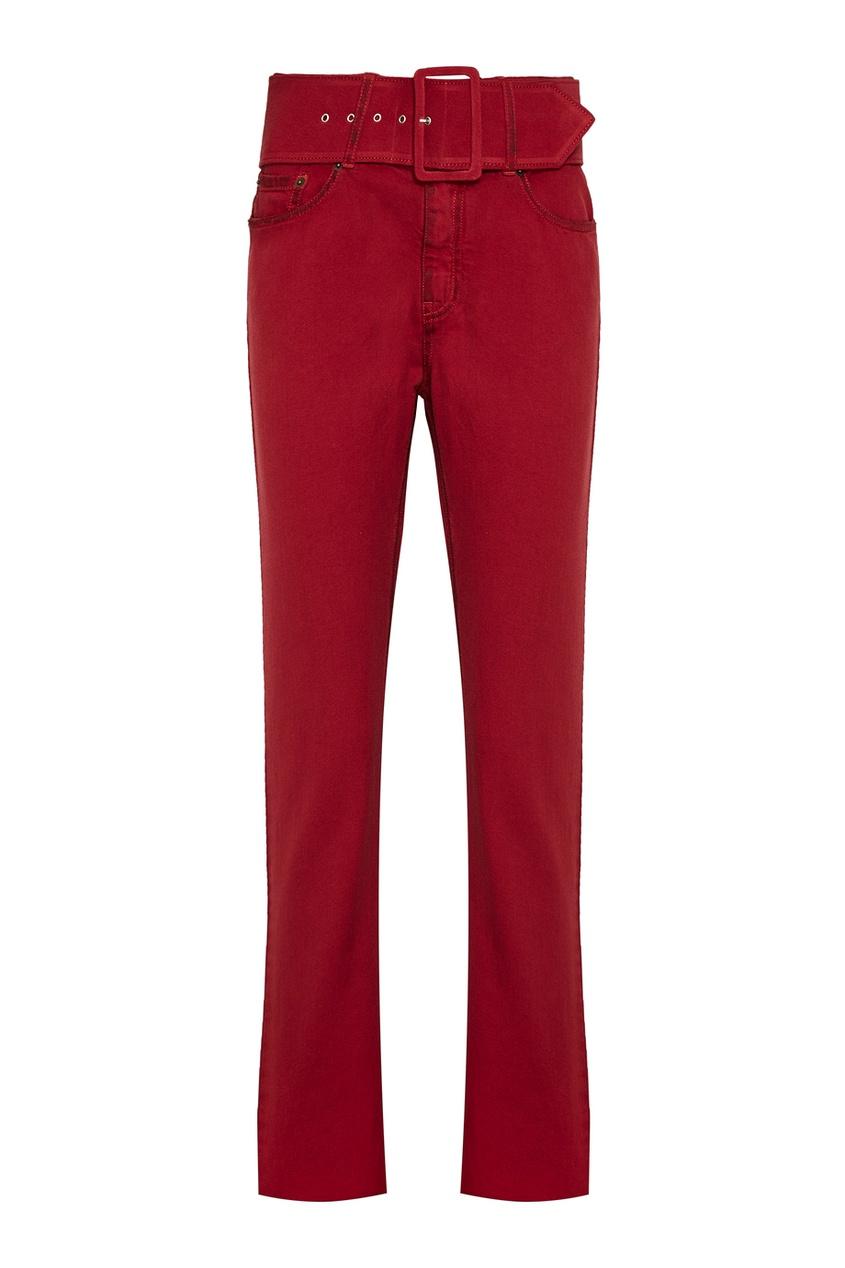 Хлопковые брюки с ремнем красные