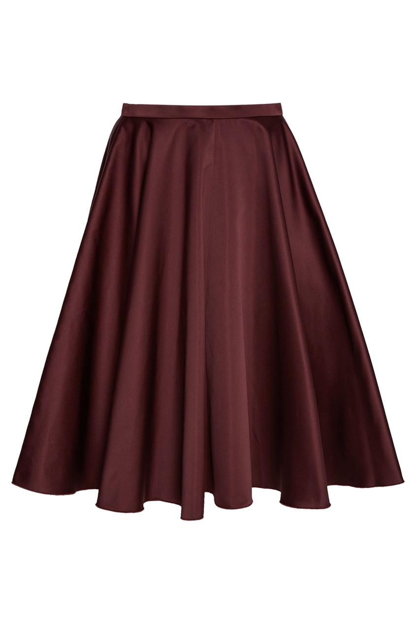 Бордовая юбка-колокол