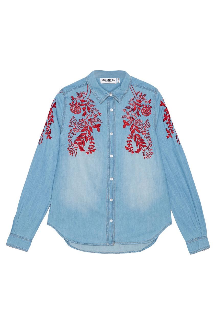 Купить со скидкой Джинсовая рубашка с вышивкой