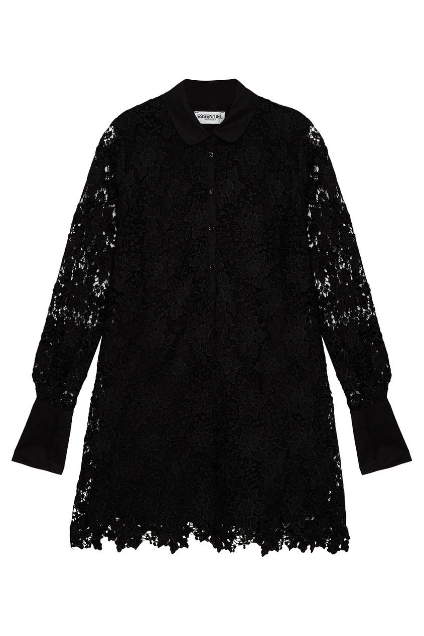 Платье из кордового кружева черное