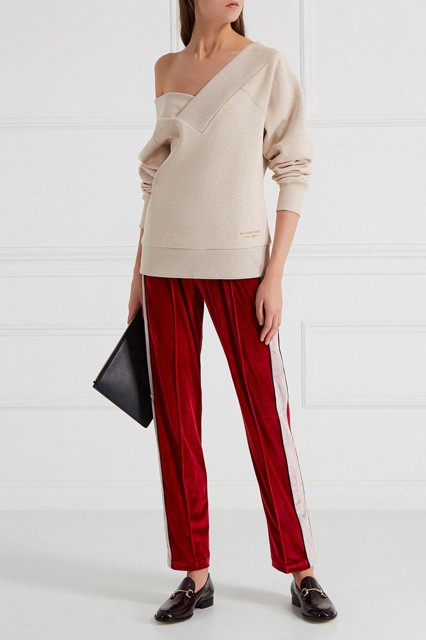 Бархатные брюки красные