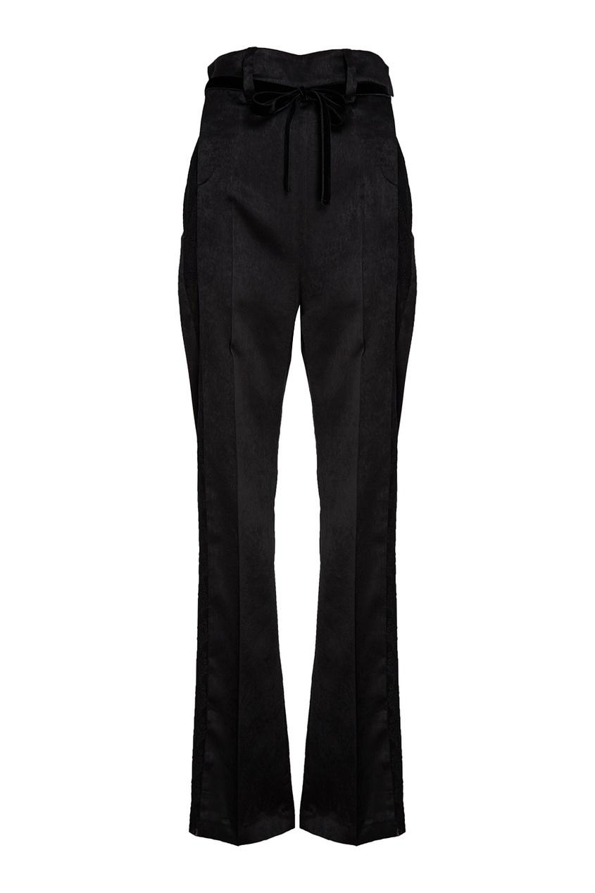 Черные брюки из атласа