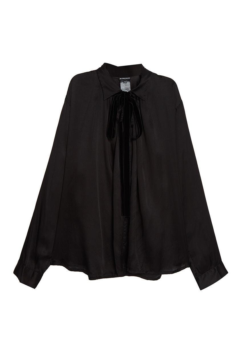 Шелковая блузка с атласной отделкой