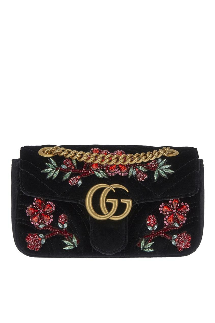 Gucci Декорированная сумка GG Marmont gucci кожаные туфли gg marmont