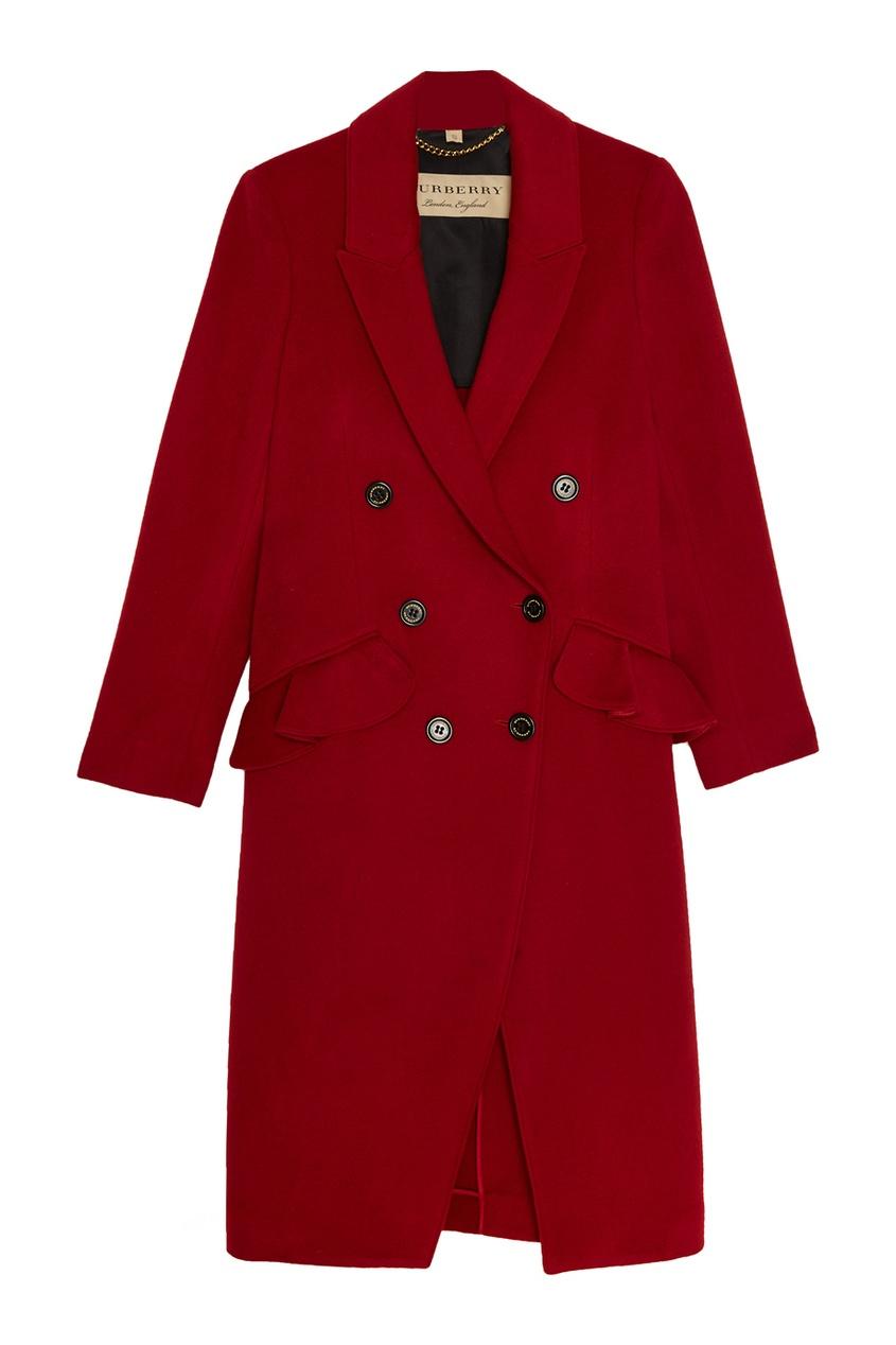Купить со скидкой Красное пальто из шерсти и кашемира