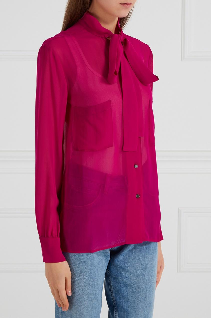 Шелковая блузка с завязками
