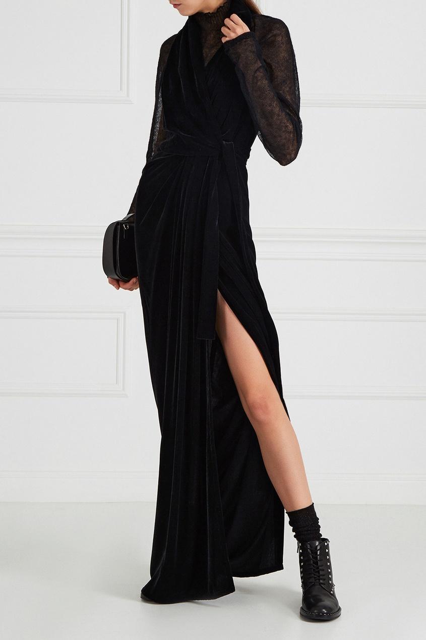 Rick Owens Черное бархатное платье les бархатное платье