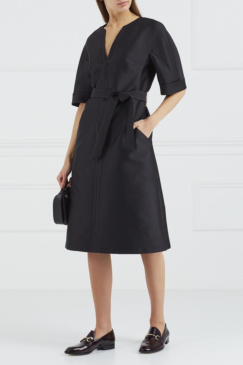Черное платье с поясом