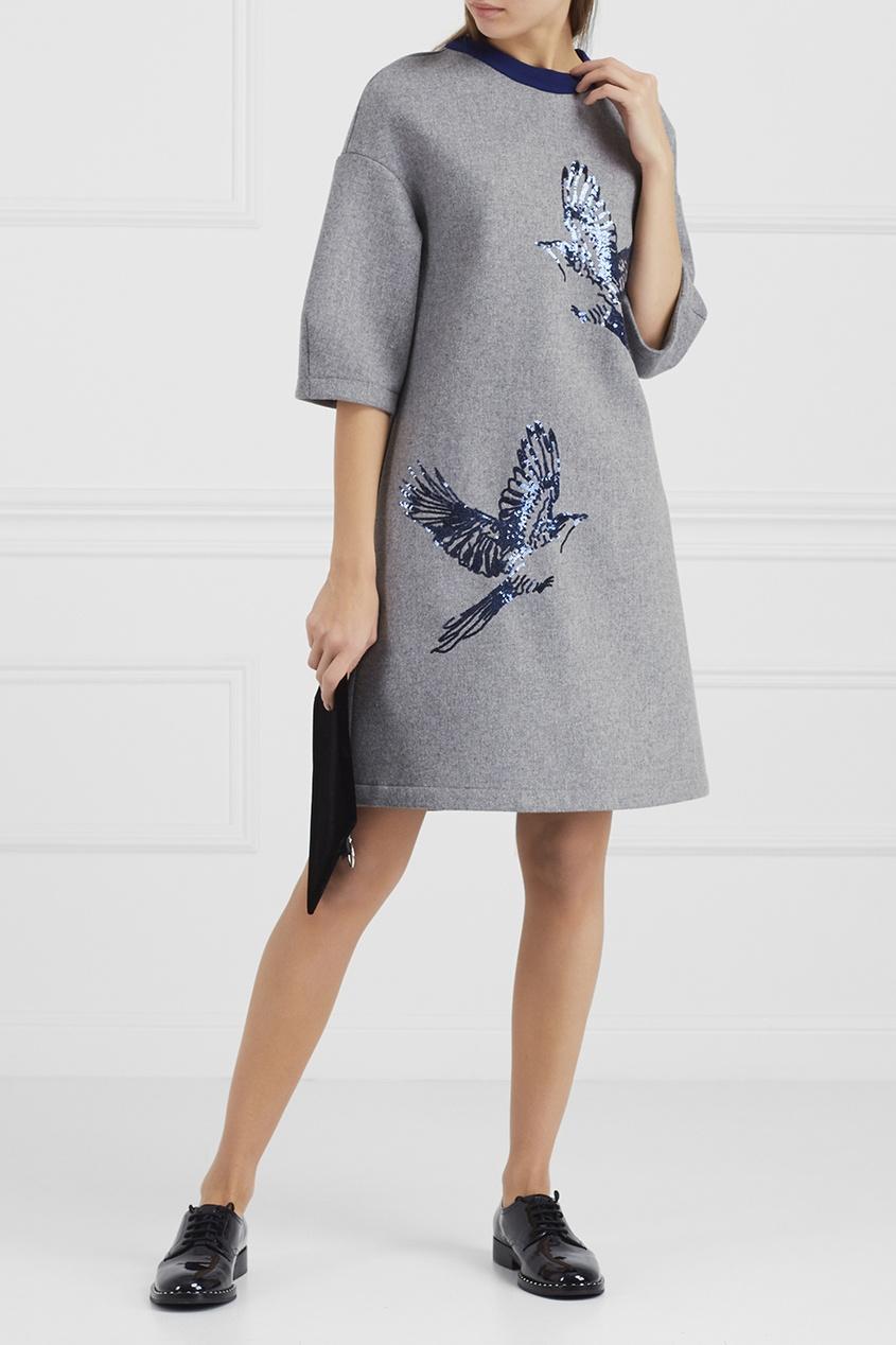 Купить со скидкой Шерстяное платье с вышивкой пайетками