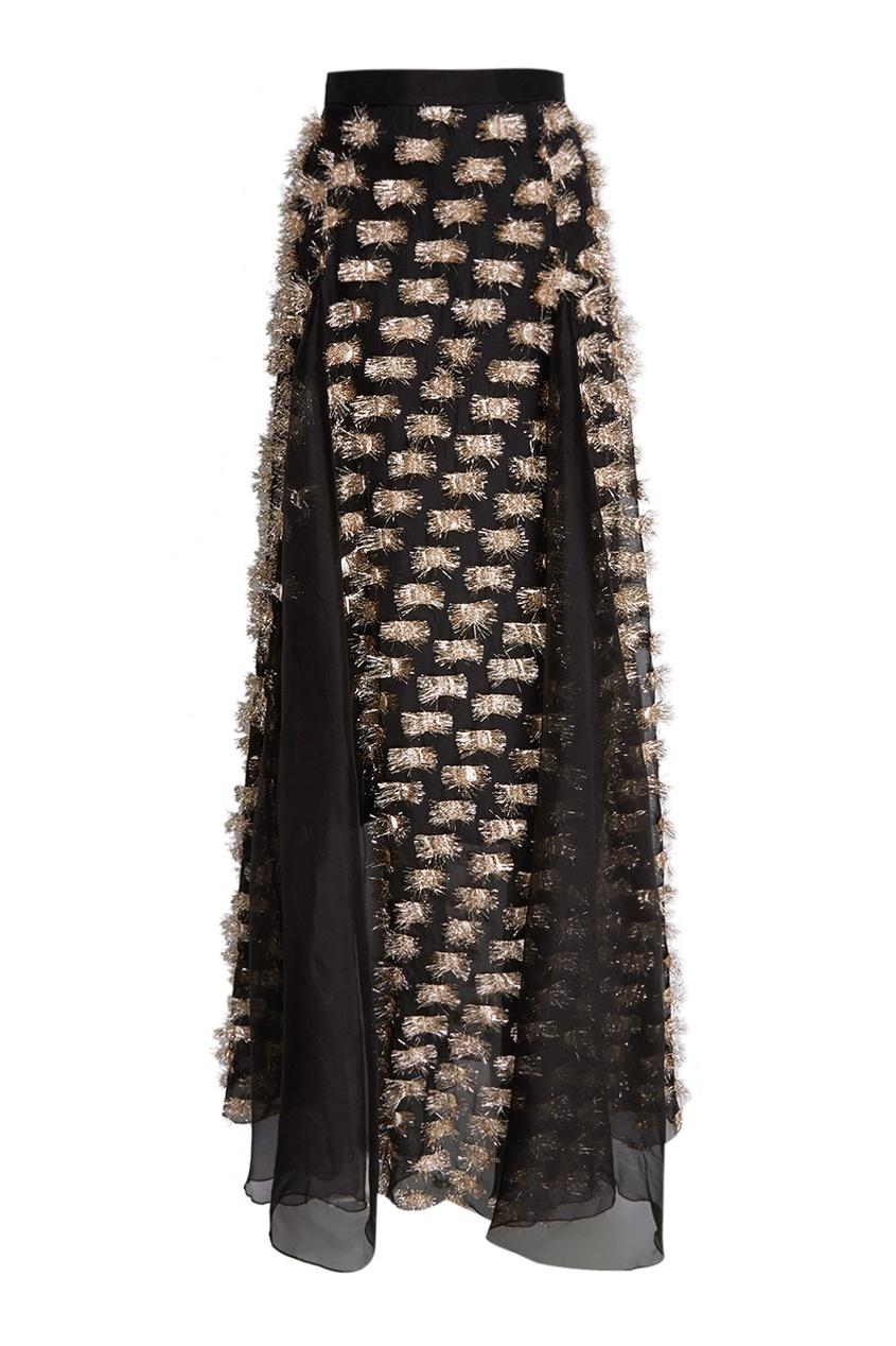 Шелковая юбка-макси черная