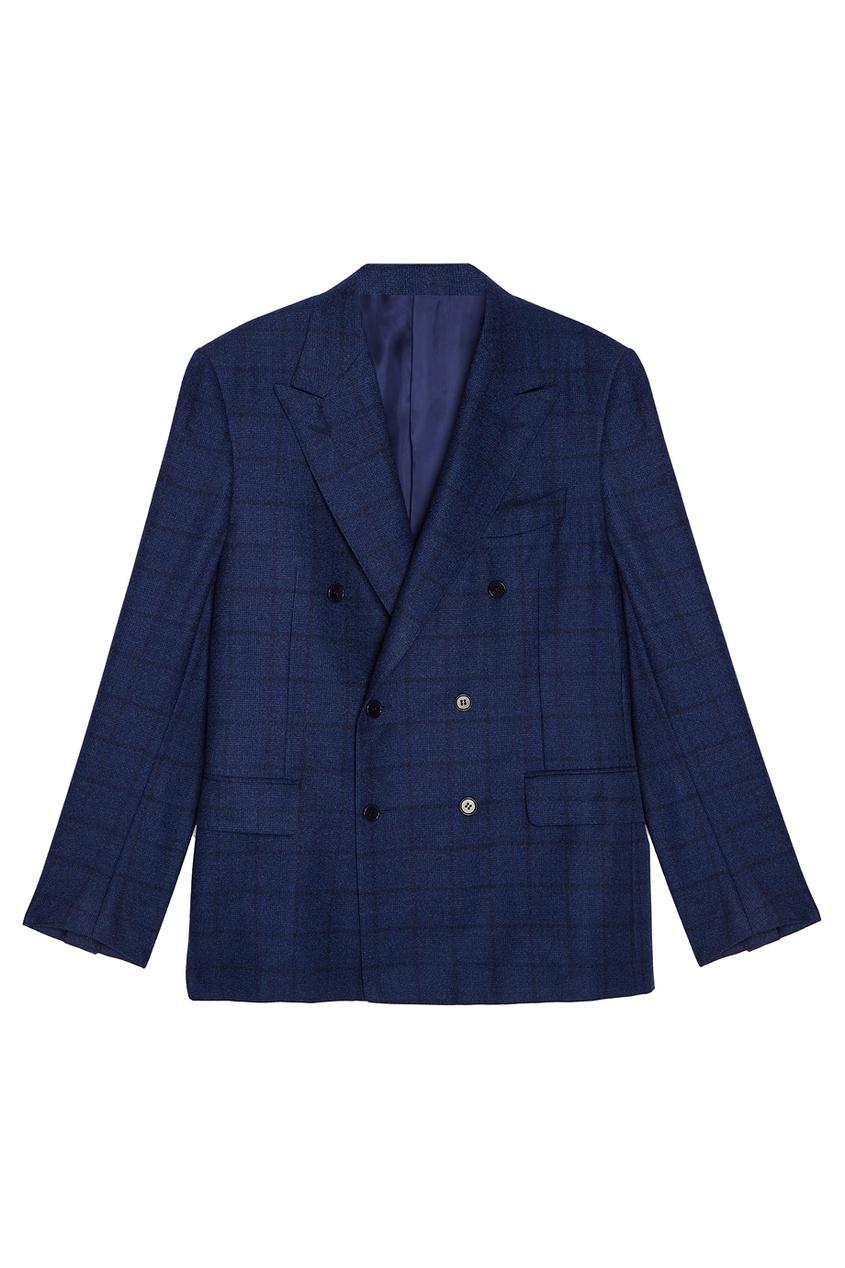 Canali Двубортный шерстяной пиджак canali шерстяной свитер поло