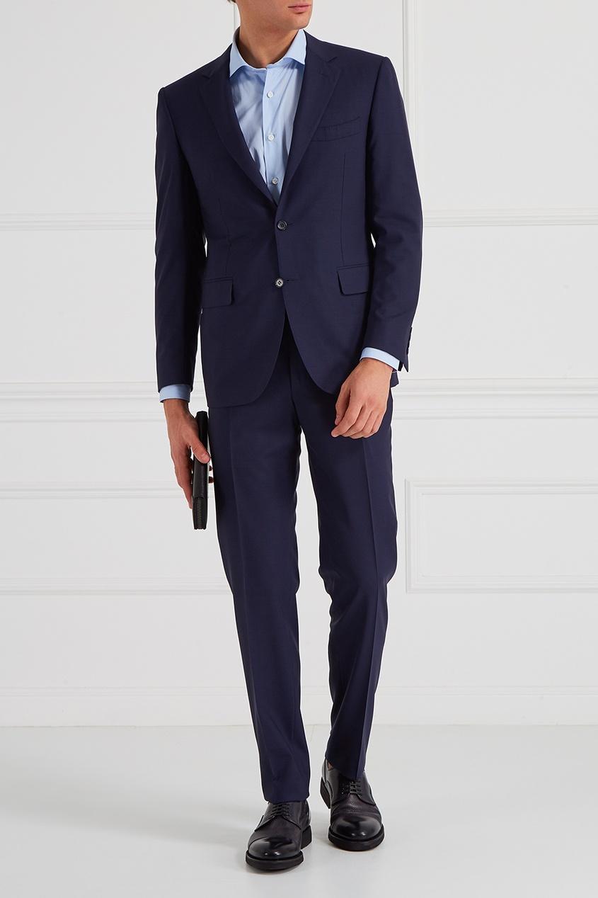 Canali Шерстной костюм-двойка синий