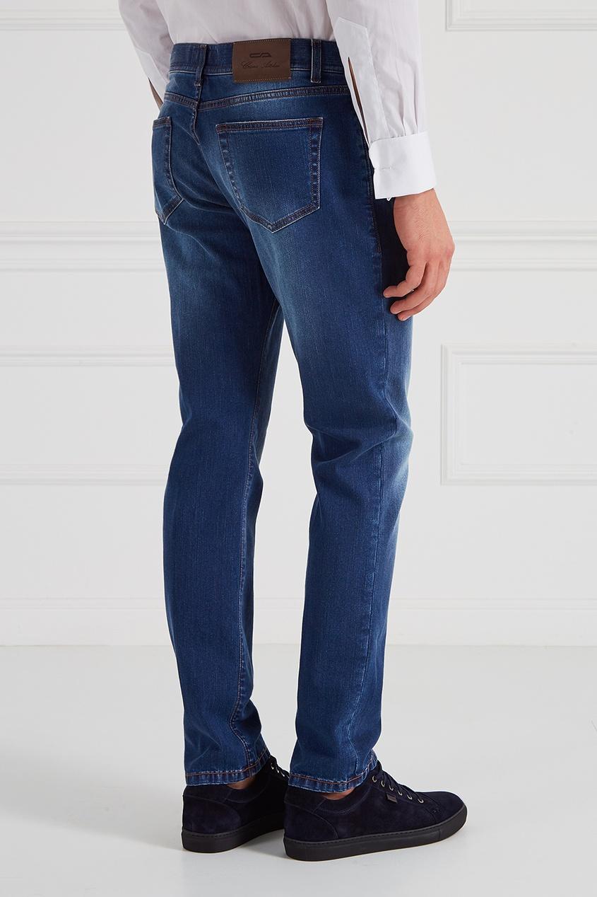 Укороченные джинсы голубые
